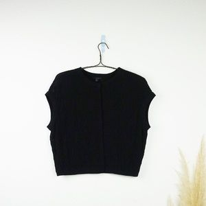 COS black knit button front short cardigan sweater